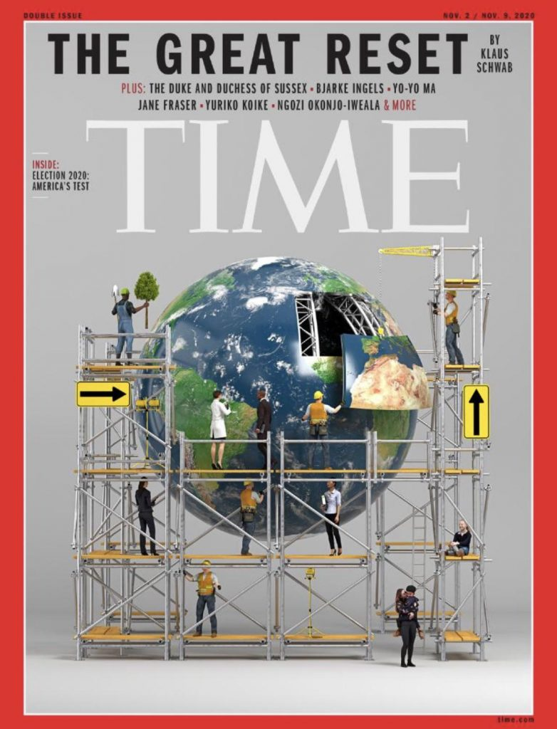 a photo of time magazines the great reset cover page