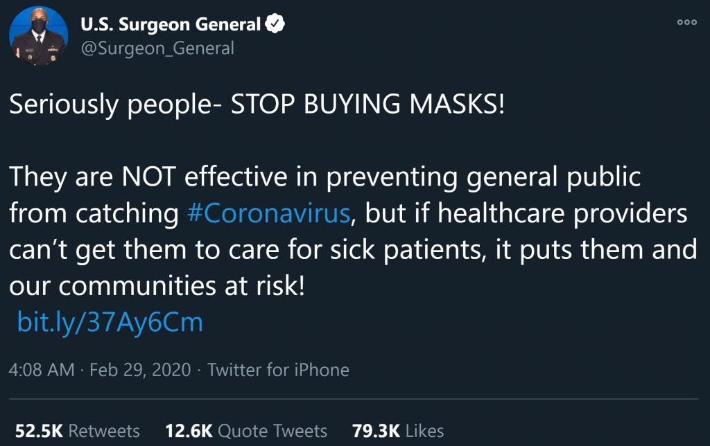 u.s. surgeon general tells us to not wear masks